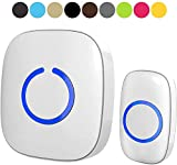 Wireless Doorbell - SadoTech Door Bells & Chimes Wireless Door Bell Kit - Over 1000 feet Range with 52 USA Doorbell Chime, Adjustable Volume, LED Flash, Model C, various color doorbells