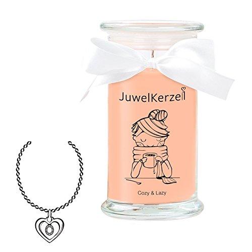 JuwelKerze Cozy & Lazy - Kerze im Glas mit Schmuck - Große braune Duftkerze mit Überraschung als Geschenk für Sie (Silber Necklace, Brenndauer: 90-120 Stunden)