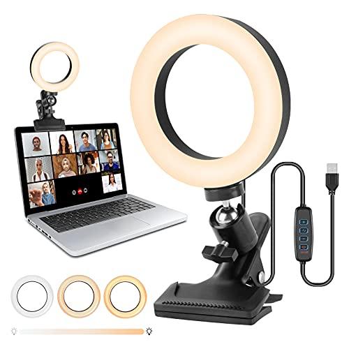 innislink Videokonferenz Licht, Ringlicht Laptop LED Videokonferenz Beleuchtung 6\' mit Clip, Dimmbar Makeup Licht Selfie Ringleuchte für Fernarbeit Studium Live-Stream Volg Zoom Meeting-Anrufe YouTube