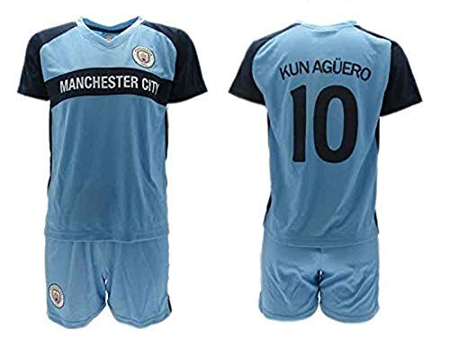 Conjunto Fútbol Sergio El Kun Aguero 10 Manchester City Azul Temporada 2018-2019 Replica Oficial con Licencia - Caja de Regalo Camisa + Pantalón Corto (4 AÑOS)