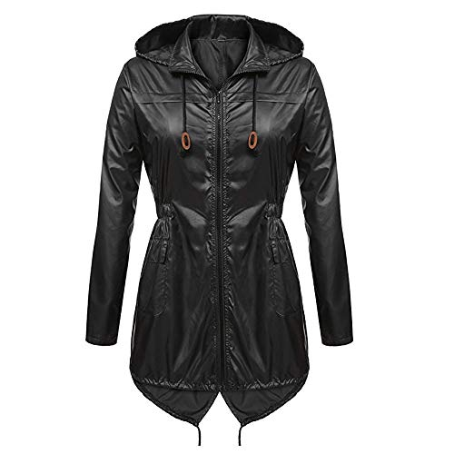 HOMEBABY Dames Lichtgewicht Hooded Regenjas Waterdicht Actieve Outdoor Regenjas Jas, Dames Lange Trench Winter Lange Mouwen Tops Cardigan Outwear Overjas