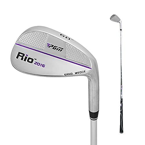 PGM Golf Sand-Wedge-Schläger, 56 und 60 Grad zur Auswahl, reguläre Form, für Rechtshänder, Edelstahl, 88,9 cm, Herren, SG001, silver/purple line 60°for woman