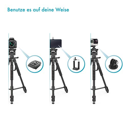 Kamera Stativ mit Handy-Halterung (Leichtes Fotostativ mit 165cm Höhe, Kamerastativ inkl. GoPro-Adapter und Zwei Schnellwechselplatten, Tripod für Smartphone DSLR Canon Nikon Sony Olympus) schwarz