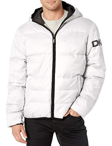 DKNY Men's Water Resistant Ultra Loft Hooded Logo Puffer Jacket (Standard and Big & Tall), Pearlized Grey, Small