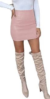 heymoney Women's Sexy Nightclub PU High Waisted Bodycon Mini Skirt