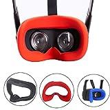 ZBRGX Oculus Quest アイマスク, Oculus Quest VR シリコンカバー ,ゴーグル シリコンアイマスク 洗えるアイマスクパッド 、光漏れを防ぐ、防汗 (赤)