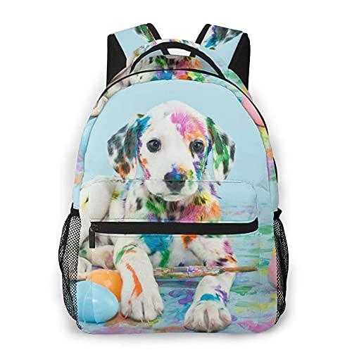 DJNGN Perro jugando con la mochila casual de la impresión de la pintura, mochila clásica para viajar con bolsillos laterales de la botella