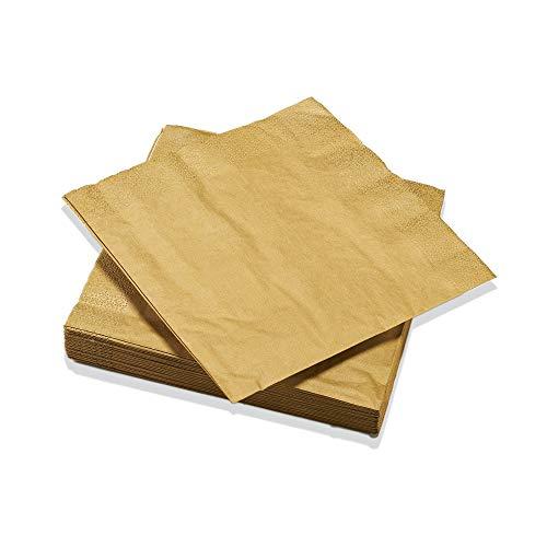 Le Nappage - Servilletas metálicas doradas - Servilletas de papel en pura...