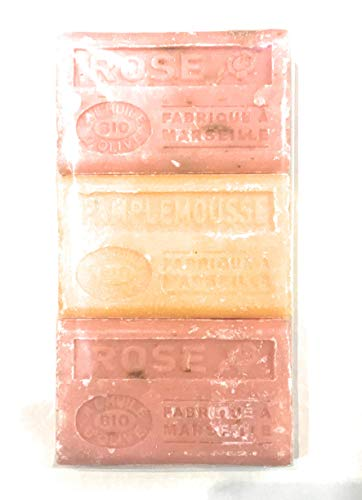 Label provence - Lot de 3 savons de Marseille à l'huile d'olive BIO - Senteurs 2 Rose, 1 Pamplemousse