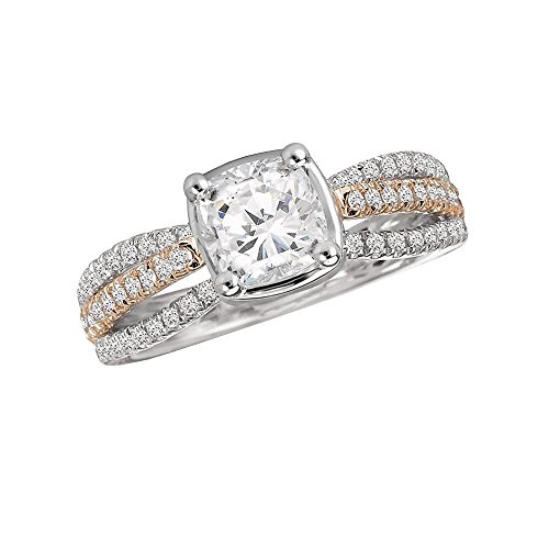 Triostar Women's 1.05 Ct Cushion & Round Diamond 14K White Gold Plated Solitaire Engagement Ring