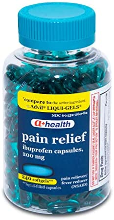 A+Health Ibuprofen 200 Mg Softgels, Pain Reliever/Fever Reducer (NSAID), Made in USA, 300 Count