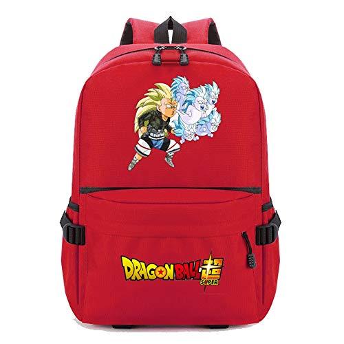 Csqw Sac à Dos d'école Anime Japonais Cosplay Tissu Oxford Dragon Ball Super Saiyan Monkey King imperméable, résistant à l'usure et aux Rayures