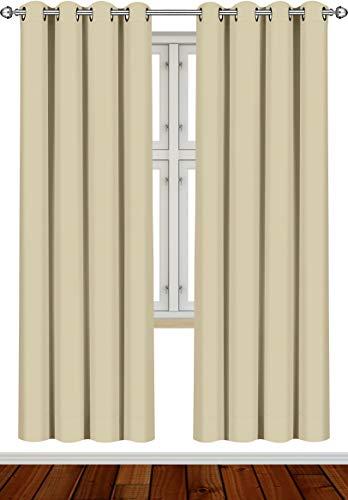 Utopia Bedding [2 Paneles Cortina Opaca - Cortinas Aislantes Térmicas - con Ojales - (140 x 245 cm, Beige)