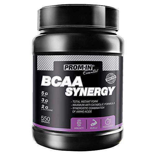 BCAA Synergy Powder by PROM-IN Specific Combination of Key Amino acids enriched with Vitamin B6 to Build and Repair Muscles | 550 g (Peach)