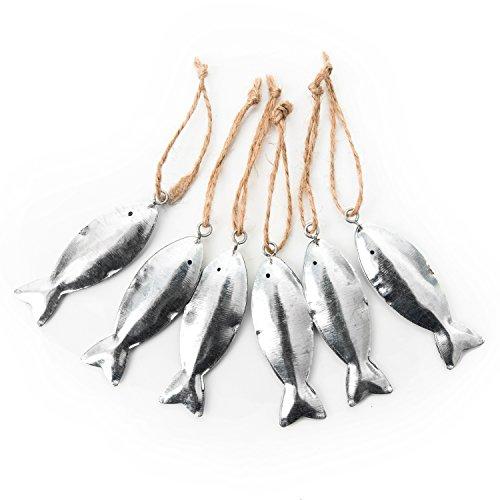 6 unidades pequeñas de chapa de metal plateadas con forma de pez con cuerda para colgar: regalo para invitados o obsequios para bautizos, comuniones, cumpleaños, bodas como amuleto de la suerte.