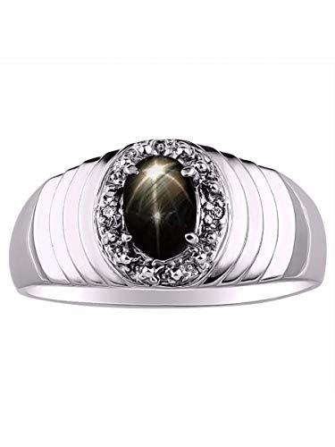 Juego de anillos de plata de ley 925 con diamantes auténticos y preciosas estrellas negras ovaladas.