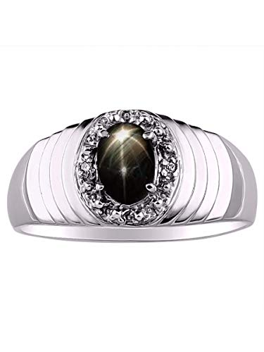 RYLOS Anillo de halo para hombre con forma ovalada con piedra de zafiro negro y diamantes brillantes genuinos en plata de ley 925 – 7 x 5 mm