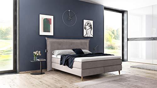 Furniture for Friends Möbelfreude® Aurel boxspringbed | 7-zones pocketvering matras & visco-topper met klimaatband | hoofdeinde met omlopende rand | Made in Germany 180x220 cm Beige Uni H2