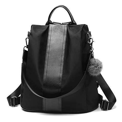 COOFIT Rucksack Damen, Wasserdichter Nylon Rucksack Schultertasche Damen Anti-Diebstahl Tagesrucksack Verbesserte Version (schwarz)