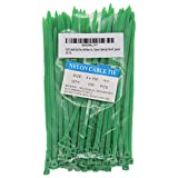 SYD CHEN 6' Inch Green Zip Ties (100 Pieces), 40lb Strength, Nylon Cable Wire Ties