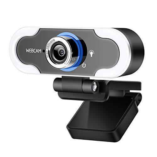 Full HD Webcam 1080p mit Mikrofon und LED-Licht,USB Web Kamera für PC oder Laptop,Plug und Play, Computer Webkamera für Videoanrufe Live Ubertragungen,Konferenz,YouTube (B10)
