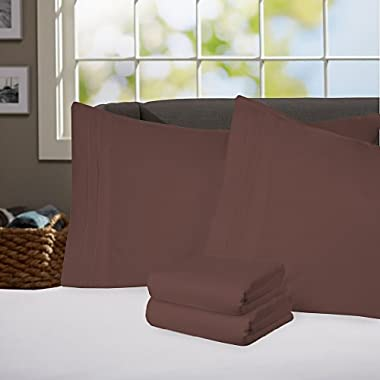 Sweet Home Collection Supreme 1800 Series 4pc Bed Sheet Set Egyptian Quality Deep Pocket - Queen, Chocolate Brown