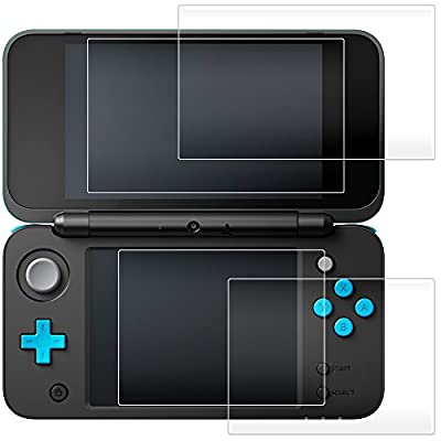 AFUNTA Screen Protector for Nintendo 2DS XL, 2 Pack (4 Pcs) Tempered Glass for Top and Bottom Screen, 2DS Protective Films Accessory