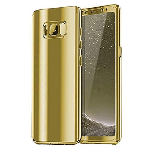 Jubyi Funda para Samsung Galaxy S9/S9Plus Teléfono Móvil 3 en 1 Slim Resistente, Bumper Funda, Glatt Hard PC Superficie Kratzfeste S9 Cover para Samsung S9+, Negro dorado s9plus