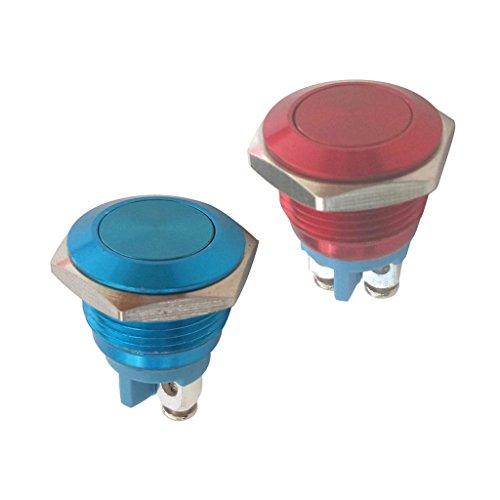 Baoblaze Momentané Interrupteur à Réarmement Automatique Bouton-Poussoir Étanche Arrêt - 2pcs Bleu Rouge 16mm