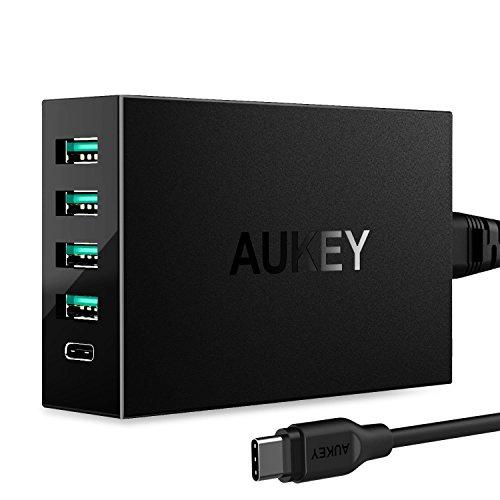Aukey PA-Y5 USB C Ladegerät 5 Port, 1 USB C Port und 4 Port mit AiPower Tech für LG HTC Nexus, 1m schwarz