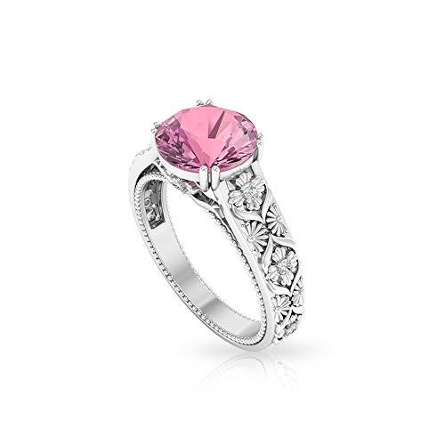 Anillo de boda con solitario de turmalina de 2,1 quilates, anillo de filigrana de diamante certificado SGL, anillo de cuentas de piedra preciosa rosa, HI-SI color claridad de diamantes, 14K Or
