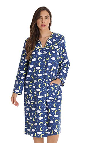 Dreamcrest Women's Snap-Front House Coat Flannel Duster Robe with Pockets