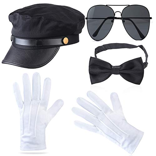 Beefunny Chauffeur Costume Limo Taxi Driver Hat Gloves Set (K)