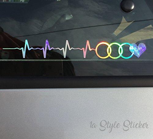 i love my auto Quattro Aufkleber Herzschlag Sticker LOVE Glitzer Logo Emblem Decal hologram vinyl glitzer Sticker Farbwechsel Pulsschlag Ringe Herz Love Autoaufkleber