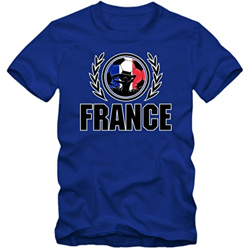 Francia Campeonato De Europa 2016#2 Camiseta | T-Shirt | France | Fútbol | Hombre | Jersey | Equipo Nacional | S-5XL, Colour:Blue (Royal Blue);Size:XXXXX-Large