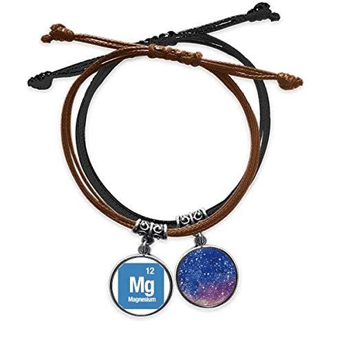 Bestchong Mg - Pulsera de magnesio con elementos químicos y cuerda para la mano de cuero, diseño de cielo estrellado