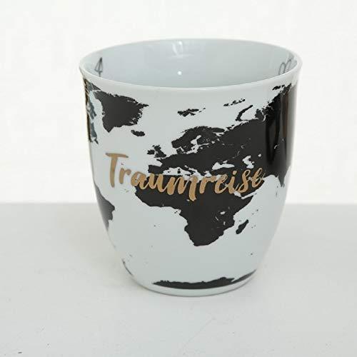 CasaJame Tasse Traumreise, Kaffeetasse Weltkarte, Kaffeebecher Porzellan, Teetasse, Riesentasse, Jumbobecher 600ml