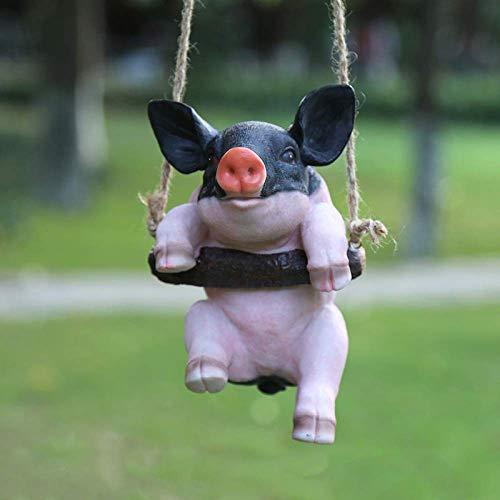 LXYZ Nur um kleines Schwein herumhängen , Piggy On Log Schaukel Garten Statue Kindergarten Estate Shop Ornament, B.