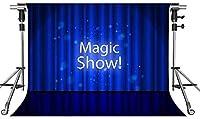 HDマジックショーの背景ライトブルーのカーテンステージ写真の背景7X5ftをテーマにしたパーティーフォトブースYouTubeの背景LFMT259