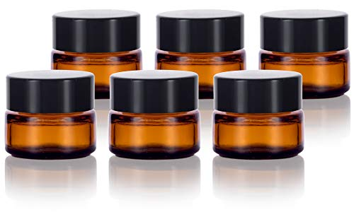 Amber Glass 5 ml 1/6 oz Small Thick Wall Balm Jars with Black Smooth Lids (6 Pack)