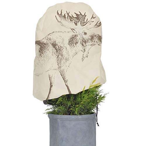 AFP Winterschutz Vlieshaube Elch Vintage, Beige, 110 x 110cm, 50g/qm Gartenvlies Atmungsaktiv, Bedruckt - Pflanzenschutz Winter/Frostschutz Pflanzen/Gartendeko / Kordel / 2 Jutesäckchen Gratis