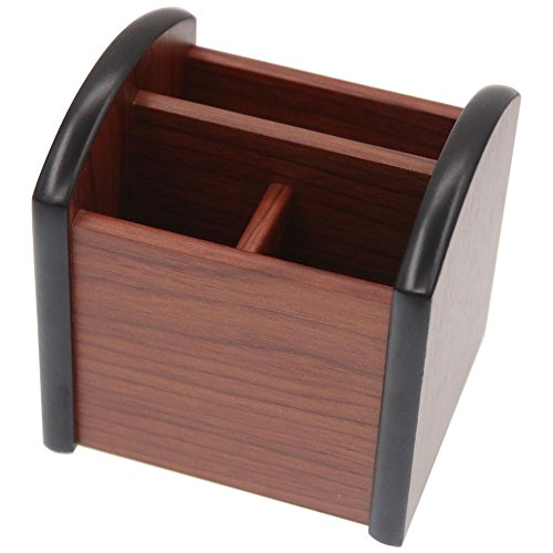 Coideal Small Wooden Pen Pencil Holder Caddy Mini Wood Box 3 Compartments Desktop Drawer Storage Organizer Stationery Case Stand for Table, School and Office Supplies (Brown & Black)
