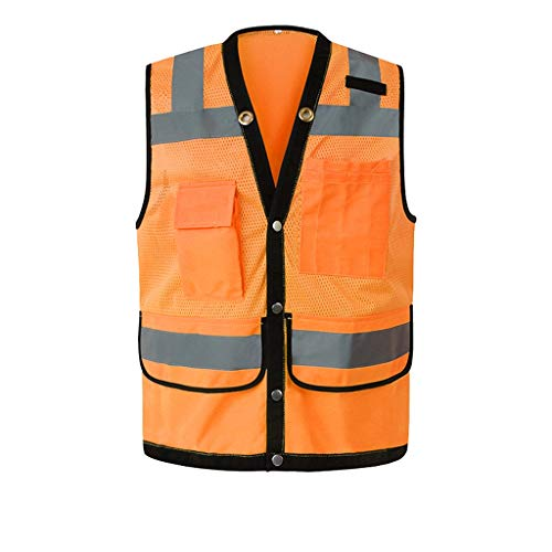 La seguridad Chaleco reflectante Bolsillo de seguridad Multifunción Construcción de tráfico nocturno Traje reflectante Chaqueta fluorescente Ligero (Color : Orange)