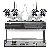 Kit Camara de Vigilancia WiFi 4CH 1080P NVR H.265 y 4 cámaras IP Tipo Bala 1080P Resistentes a la Intemperie, visión Nocturna con Infrarrojos, Acceso Remoto Gratuito y detección de Movimiento