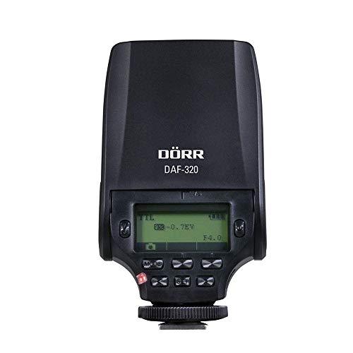 Dörr 370302 Systemblitzgerät DAF-320 für Sony MIS Kamera (Leitzahl 32, TTL-Blitzautomatik, Stroboskopfunktion, Diffusorvorsatz, Tasche/Standfuß)