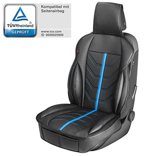 Walser 13986 Autositzauflage Kimi, Universelle Sitzauflage und Schutzunterlage in schwarz - blau, Sitzschoner für Pkw und LKW in Rennsportoptik