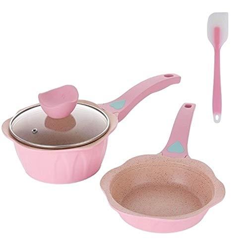 Nieuwste Pink Nonstick Pan Babyvoeding Egg kookpot Steelpan Kleine Milk Soup Stockpot Medical Stone Kitchen Cookware (Color : Pink set)