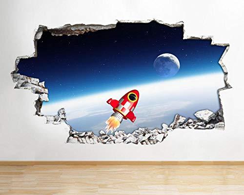 Wandtattoo Rocket Space Moon Coole Kinder zerschlagen 3D Vinyl Kinderzimmer Aufkleber