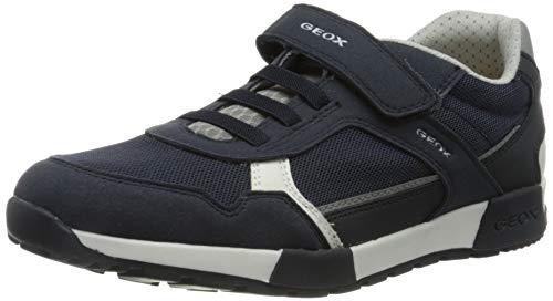 Geox J ALFIER Boy A Sneaker, Navy/Grey, 30 EU