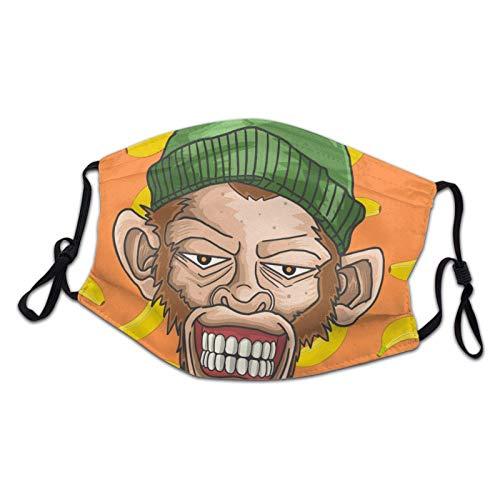 artyly Atmungsaktive Gesichtsmaske Grinsender AFFE mit Skullcap Fullcolor Dustproof Lightweight Mundmasken für Teenager Boys Girls Black